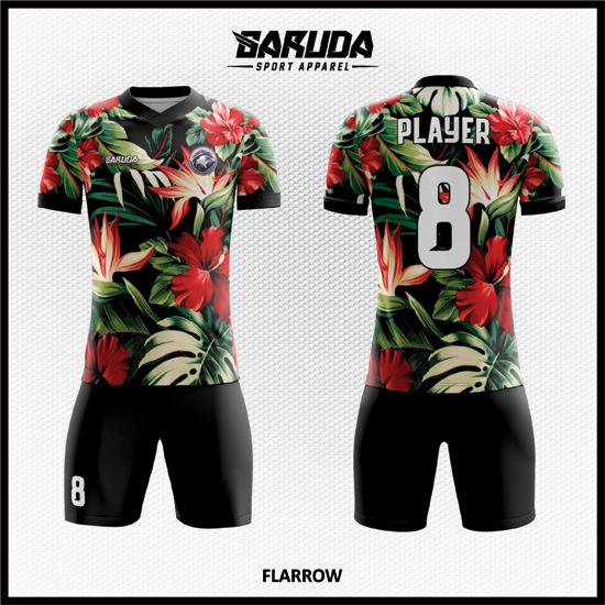 Desain Baju Futsal Full Print Code Flarrow Super Cantik Motif Bunga
