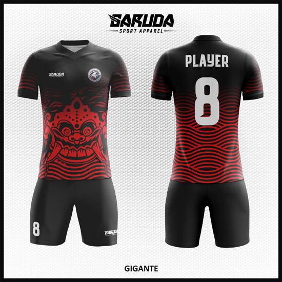 desain baju bola futsal printing code GIGANTE merah gradasi hitam