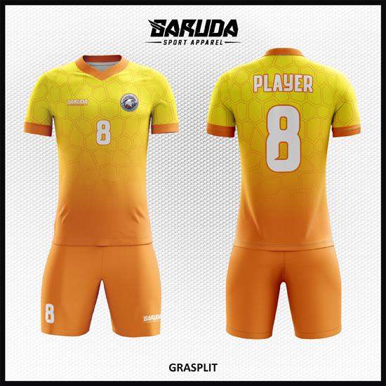 desain baju bola futsal printing code GRASPLIT gradasi kuning orange