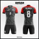 Desain Baju Sepakbola Printing Code Greysoul Warna Abu Abu Dan Merah