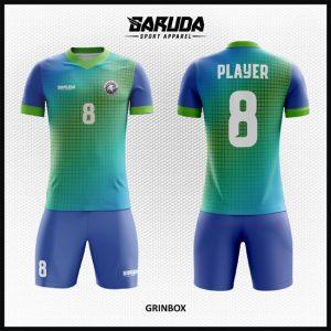Desain Baju Sepakbola Code Grinbox Gradasi Hijau Biru Memukau