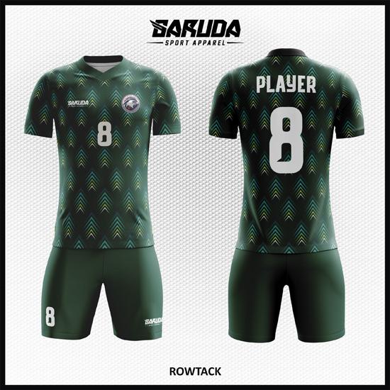 Desain Kostum Futsal Printing Code Rowtack Warna Hijau Yang Gagah