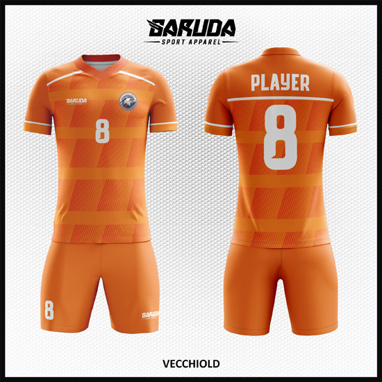 desain seragam futsal printing code VECCHIOLD warna orange