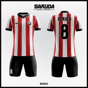 Desain Kaos Bola Futsal Full Print Code Bilblo Warna Merah Putih