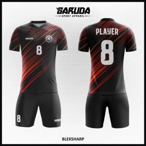 Desain Kaos Bola Futsal Full Print Code Bleksharp Warna Hitam