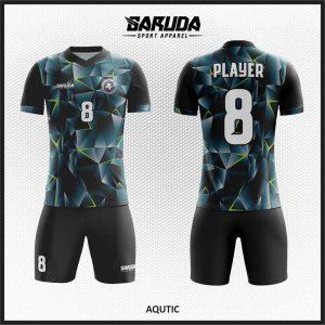 Desain Kaos Futsal Code AQUTIC Hitam Abstract Yang Menawan