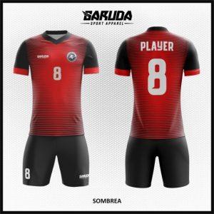 Seragam Sepakbola Printing Sombrea Hitam Merah Yang Kece