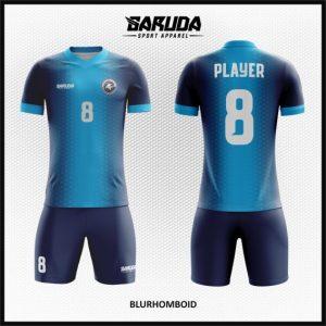 Desain Baju Futsal Printing Code Blurhomboid Gradasi Biru dan Dongker