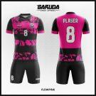 Desain Jersey Sepakbola Printing Code Flowpink Warna Pink Hitam