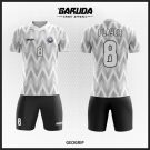 Desain Kostum Futsal Printing Code Geogrip Dibalut Warna Mokorom Putih Hitam Abu