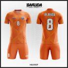 Desain Kostum Sepakbola Printing Code Halfdot dengan Warna Orange Menyala