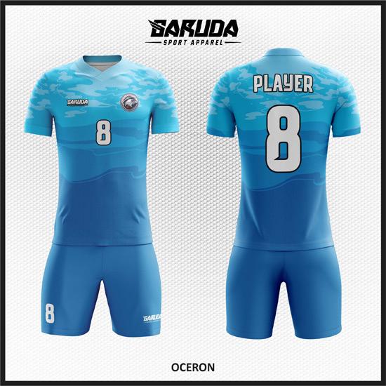 Desain Seragam Bola Futsal Printing Code Oceran Biru yang Cool