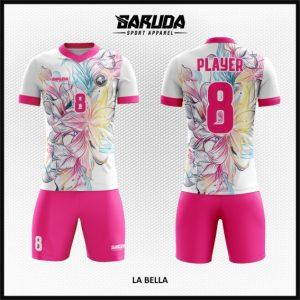Desain Seragam Futsal Printing Code La Bella Gambar Bunga Pink