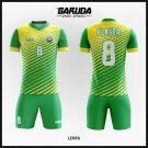Desain Seragam Futsal Printing Code Lenta Warna Hijau Kuning Motif Garis