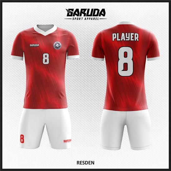 Desain Seragam Sepakbola Printing Code Resden Si Merah Yang Menarik