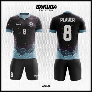 Desain Kostum Bola Futsal Printing Code Wolke Hitam yang Maskulin