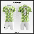 Desain Seragam Sepakbola Printing Unbrin Putih Hijau Motif Zig-zag