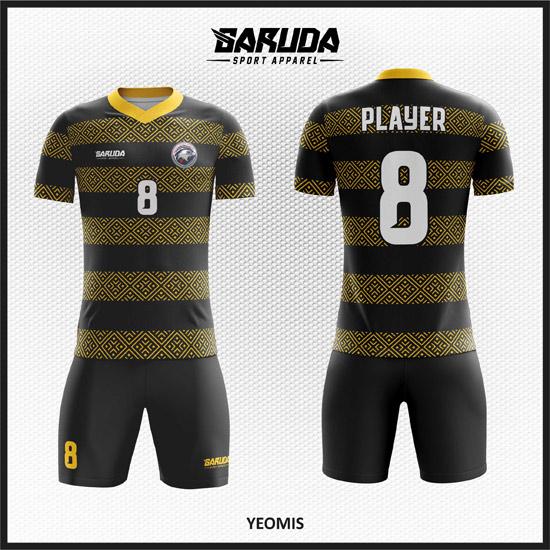 Desain Kostum Futsal Printing Code Yeomis Hitam Ornamen Batik Klasik