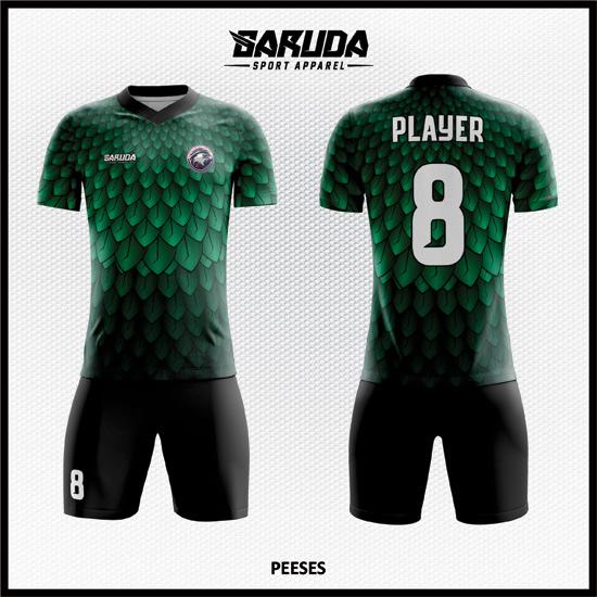 Desain Baju Bola Warna Hijau hitam