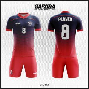 Desain Baju Futsal Custom Blurist Dongker Gradasi  Merah