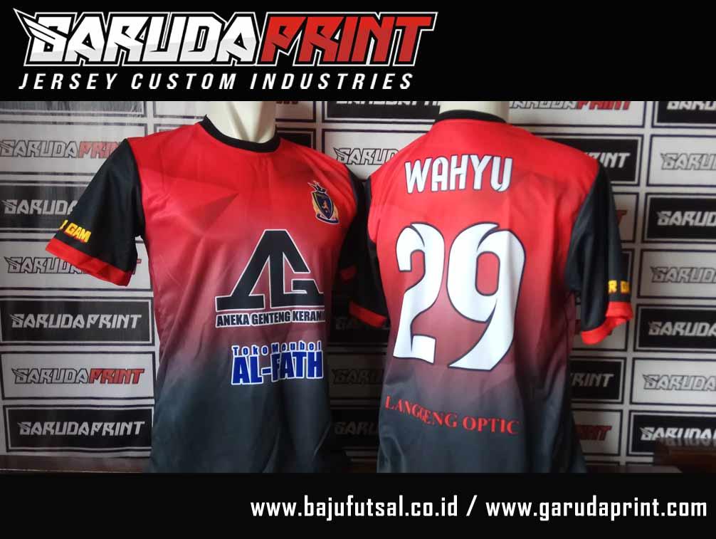 Printing Baju Bola Warna Merah Hitam Nama Sendiri