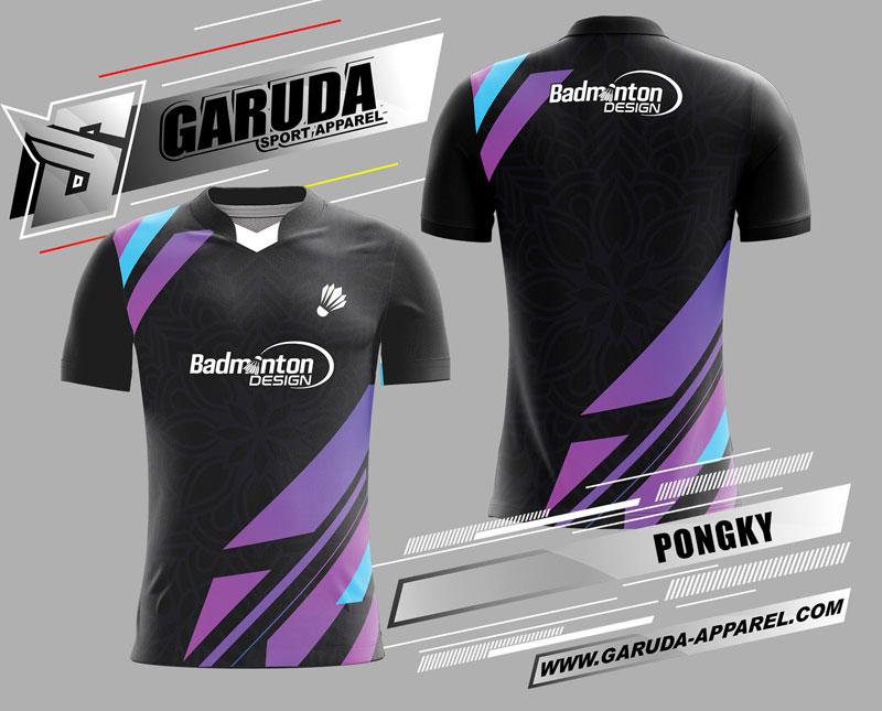 desain kaos badminton printing hitam ungu