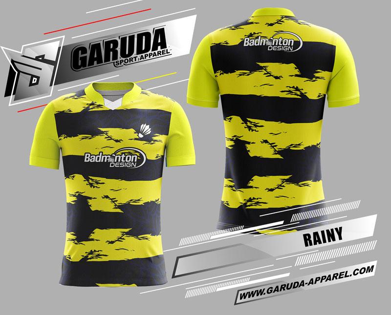 desain kaos badminton printing kuning hitam