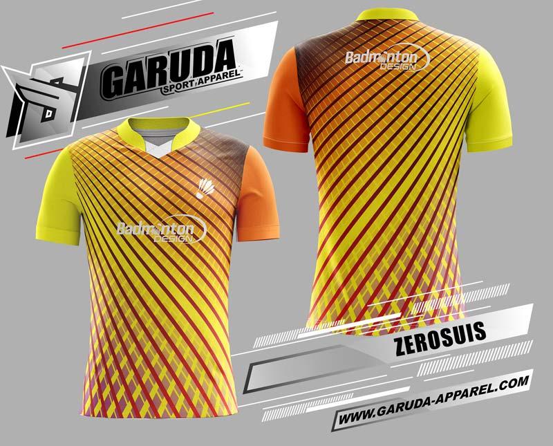 desain kaos badminton printing kuning orange