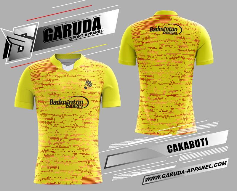 desain kaos badminton printing kuning