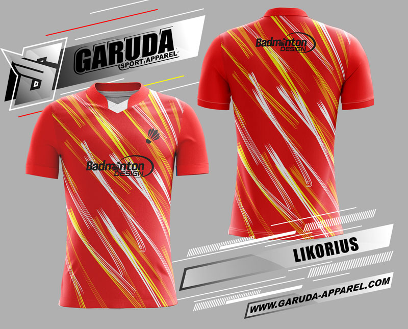 desain kaos badminton printing merah