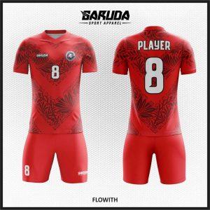 Desain Jersey Futsal Code Flowith Merah Yang Dinamis