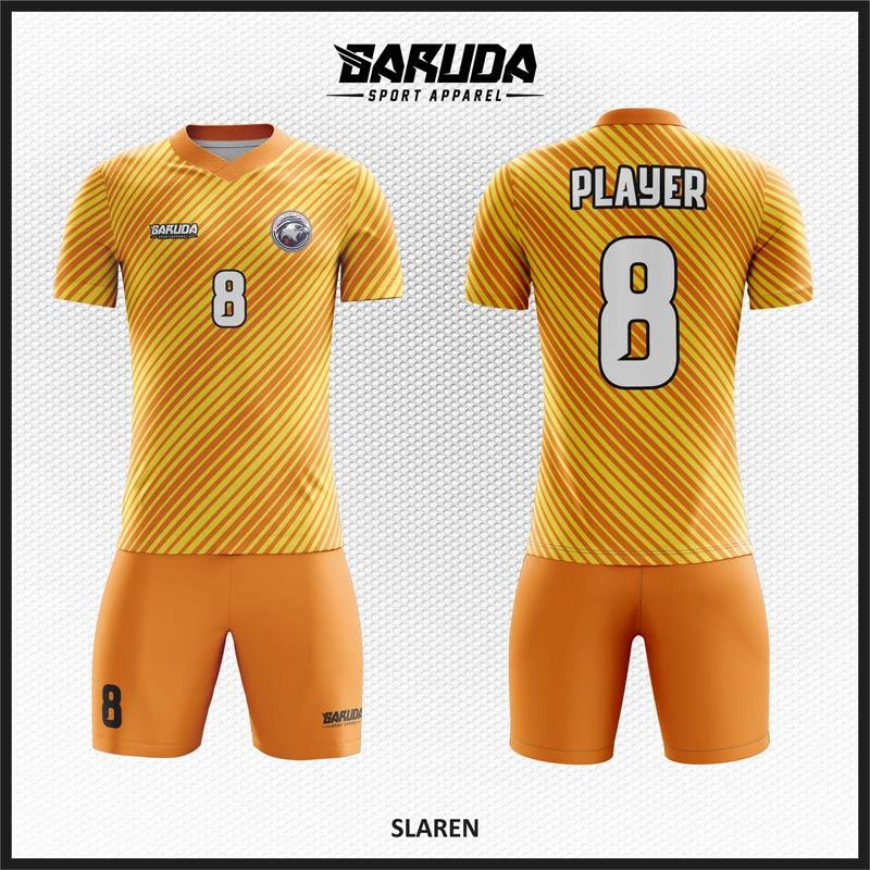 Desain kaos bola futsal code Slaren, Garis Orange dan Kuning yang Mengejutkan