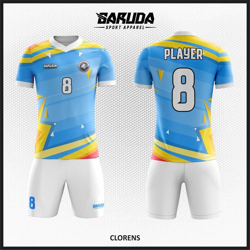 Desain Kaos Bola Futsal Code Clorens Terkeren Biru Kuning Putih