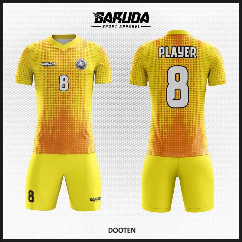 Desain Baju Futsal Code Dooten Kuning Orange Motif Titik Titik.