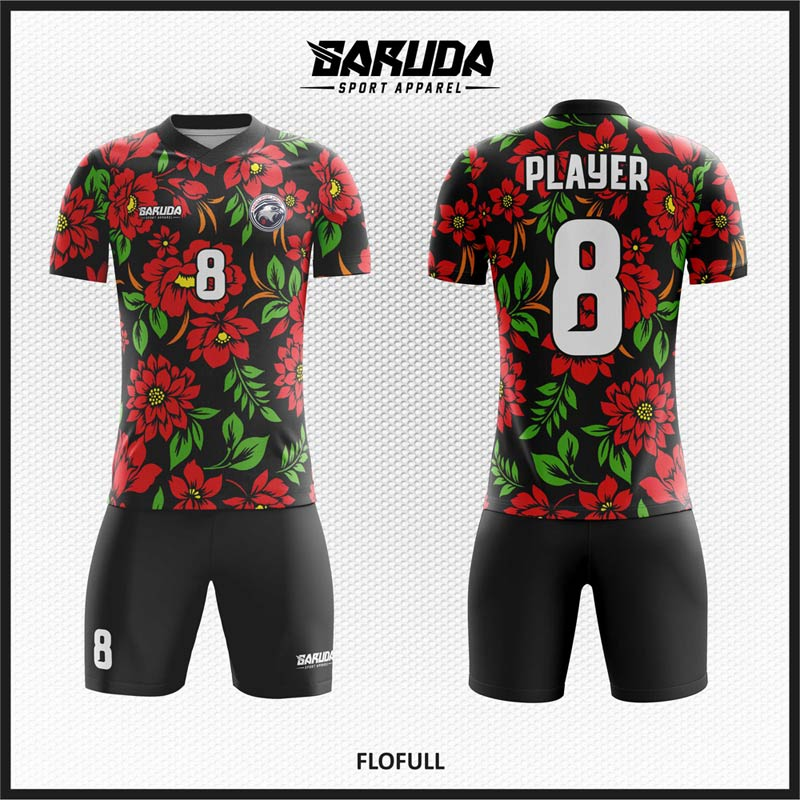 Desain Baju Sepakbola Code Flofull Gambar Kembang.