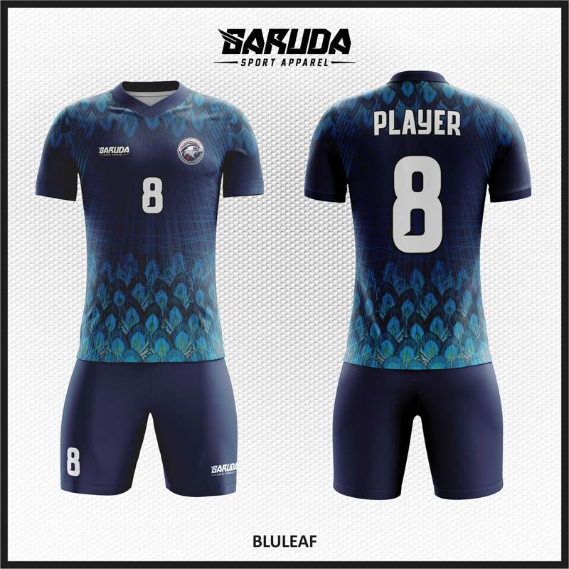 Desain Baju Bola Futsal Code Bluleaf Gambar Bulu Yang Indah.