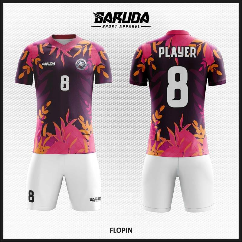 Desain Jersey Futsal Code Flopin Bunga Ungu.