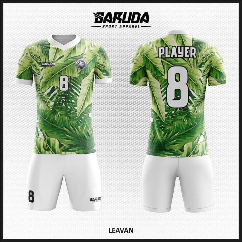 Desain Baju Futsal Code Leavan Motif Hijau Daun Yang Fresh