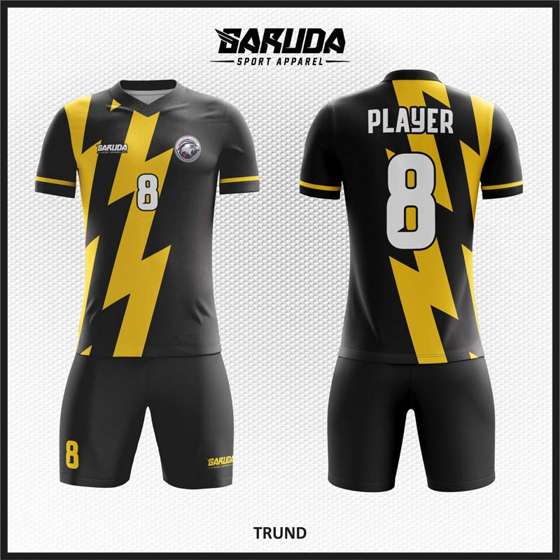 Desain Jersey Sepak Bola Printing Code Trund Warna Hitam Motif Petir Yang Elegan
