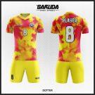 Desain Seragam Futsal Code Dotter Warna Merah Kuning Yang Unik