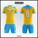 Desain Jersey Bola Futsal Code Cumbyn Warna Kuning Biru Yang Serasi