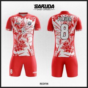 Desain Jersey Futsal Code Redfin Warna Merah Putih Motif Bunga Cantik