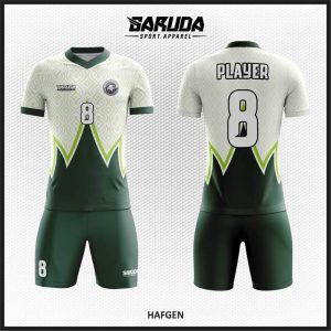 Desain Baju Futsal Code Hafgen Warna Putih Hijau