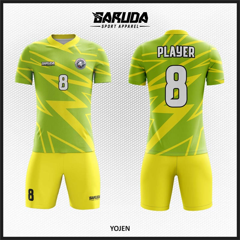 Desain Kostum Futsal Printing Code Yojen Warna Hijau Kuning