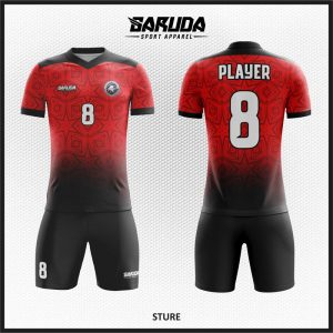 Desain Jersey Sepak Bola Sture Warna Merah Hitam