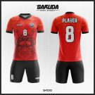 Desain Seragam Futsal Printing Shydo Warna Merah Hitam