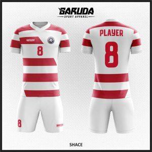 Desain Jersey Bola Futsal Shace Warna Merah Putih