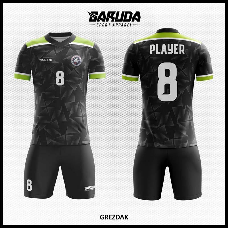 Desain Kaos Futsal Full Print Grezdak Warna Hitam Motif Abstrak