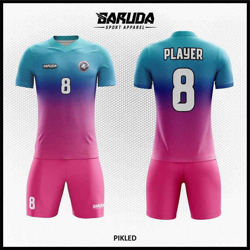 Desain Baju Bola Futsal Pikled Biru Ungu Motif Bergelombang