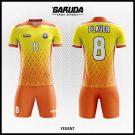Desain Kostum Sepakbola Yegent Warna Kuning Orange Yang Serasi